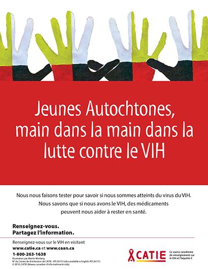 Jeunes Autochtones, main dans la main dans la lutte contre le VIH (Série Renseignez-vous pour jeunes Autochtones) [Poster] Image