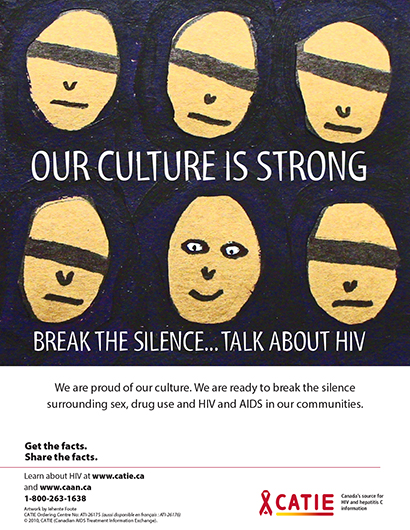 Our culture is strong. Break the silence…Talk about HIV (Get the Facts Indigenous Youth Series) [Poster] Image