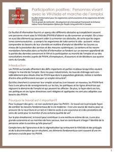 Participation positive : Personnes vivant avec le VIH/sida et marche de l'emploi : Feuillet d'information pour les organismes communautaires et les organismes de lutte contre le sida Image
