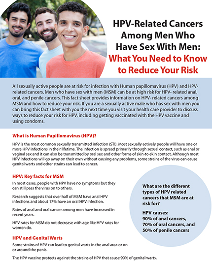 Fact sheet: HPV-related cancers among men who have sex with men: what you need to know to reduce your risk Image