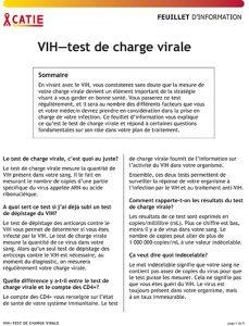 FEUILLET D'INFORMATION : VIH—test de charge virale Image