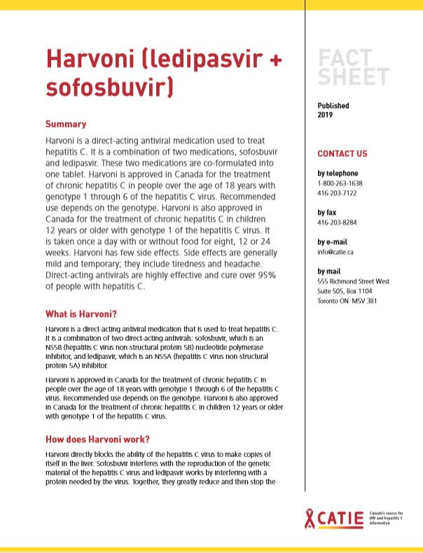 Fact sheet: Harvoni (ledipasvir + sofosbuvir) Image