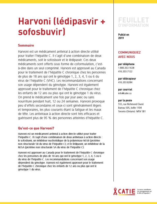 FEUILLET D'INFORMATION : Harvoni (lédipasvir + sofosbuvir) Image