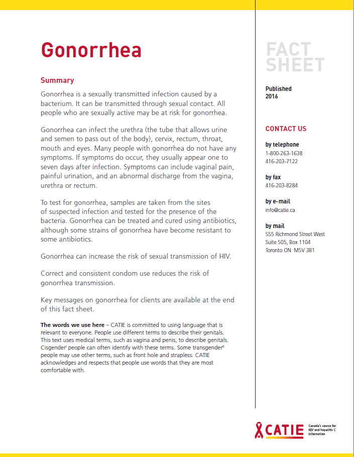 Fact sheet: Gonorrhea Image