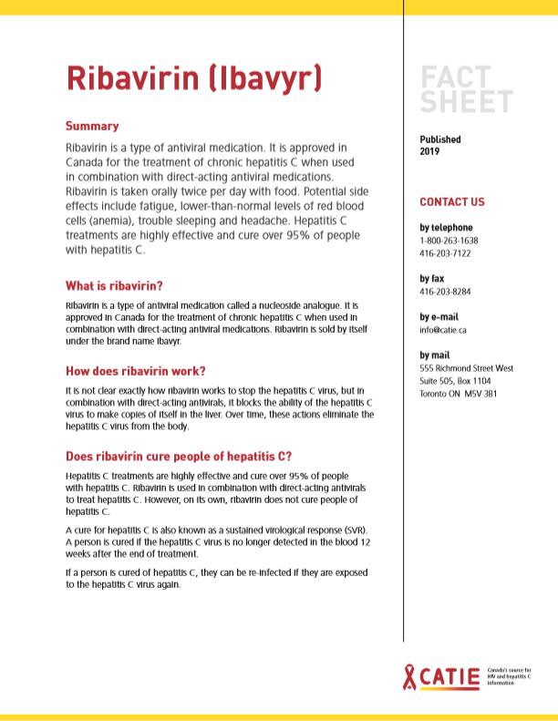 Fact sheet: Ribavirin (Ibavyr) Image