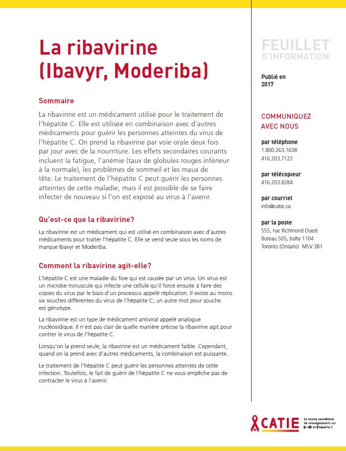 FEUILLET D'INFORMATION : La ribavirine (Copegus, Ibavyr, Moderiba) Image
