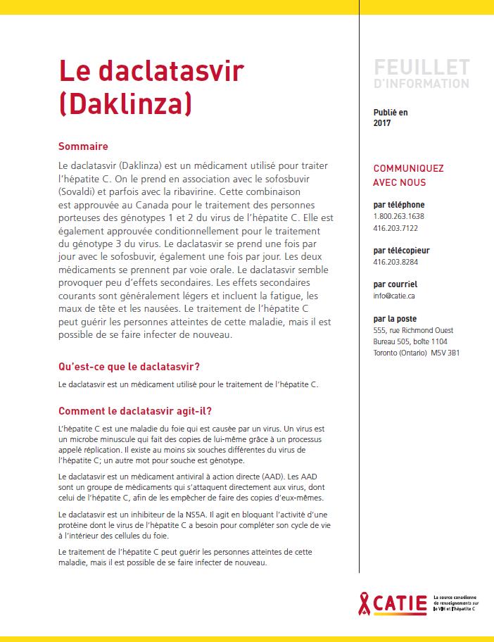 FEUILLET D'INFORMATION : Le daclatasvir (Daklinza) Image
