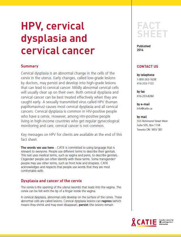 Fact sheet: HPV, cervical dysplasia and cervical cancer Image