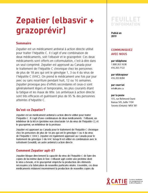 FEUILLET D'INFORMATION : Zepatier (elbasvir + grazoprévir) Image