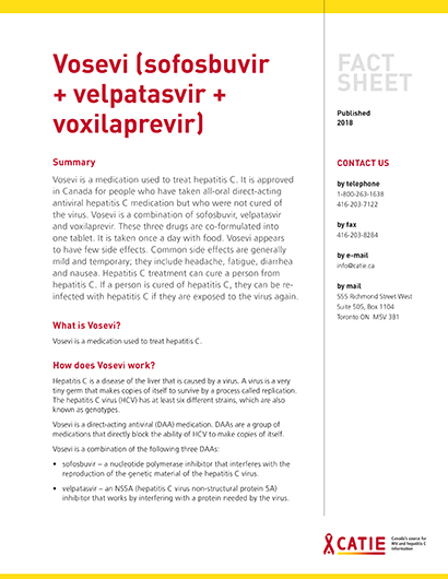 Fact sheet: Vosevi (sofosbuvir + velpatasvir + voxilaprevir) Image