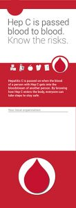 Hep C Key Messages: Hep C is passed blood to blood. Know the risks. [Wallet card, 20 per package] Image