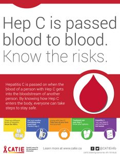 Hep C Key Messages: Hep C is passed blood to blood. Know the risks. [Small poster] Image