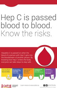 Hep C Key Messages: Hep C is passed blood to blood. Know the risks. [Large poster] Image