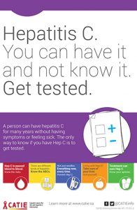 Hep C Key Messages: Hepatitis C. You can have it and not know it. Get Tested. [Large poster] Image